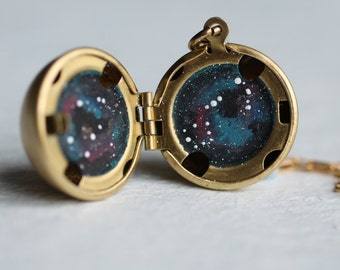 Constellation Zodiac Sphere Locket ... Personalised Space Planet Locket