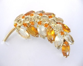 Vintage Amber and Jonquil Rhinestone Brooch - Juliana Style