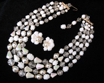 Vintage GERMANY Baroque Pearl and White Beaded Necklace Earrings Set - 4 Strand