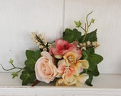 Large floral hairclip, Peach and coral hairclip, Bridal hairclip, Statement hairpiece, Woodland clip, Floral fascinator