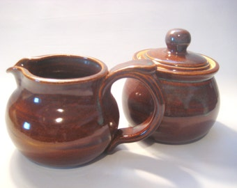 Sugar Bowl and Cream Pitcher Breakfast Set - Natural Iron Luster - Handmade Pottery