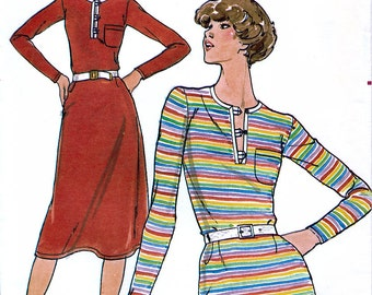 Butterick 5321 Vintage 70s Misses' Dress and T-Shirt Sewing Pattern - Uncut - Sizes 8, 10 or 14