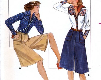 Butterick 4918 Vintage 70s Misses' Shirt and Culottes Sewing Pattern - Uncut - Size 8 - Bust 31.5