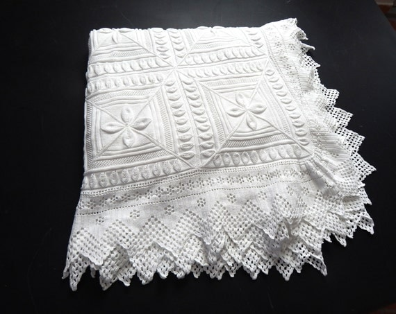 Vintage French Bed Coverlet Hand Knit with by ...