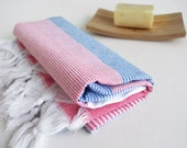 SALE 70 OFF/ Turkish Beach Bath Towel Peshtemal / Blue - Pink / Wedding Gift, Spa, Swim, Pool Towels and Pareo