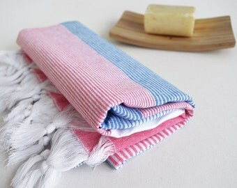 SALE 70 OFF / BathStyle Turkish Beach Bath Towel Peshtemal / Blue - Pink / Wedding Gift, Spa, Swim, Pool Towels and Pareo