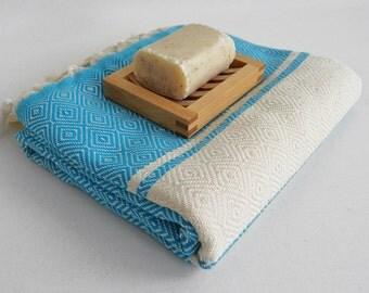BathStyle / Diamond Bathstyle Turkish BATH Towel Peshtemal - Crystal Blue - White - Bath, Beach, Spa, Swim, Pool Towels
