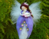 Needle Felted Waldorf Fairy. Purple Fairy. Springtime Fairy. Garden Fairies. Waldorf Doll. Girls Room Decor. Girls Nursery Ideas. Fairy Doll