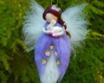 Needle Felted Waldorf Fairy. Purple Fairy. Springtime Fairy. Garden Fairies. Waldorf Doll. Girls Room Decor. Girls Nursery Ideas. Fairy Doll
