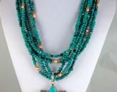 TURQUOISE  6 Strands NECKLACE  with Detachable Sterling Silver and Turquoise Flower PENDANT Choker Statement Necklace