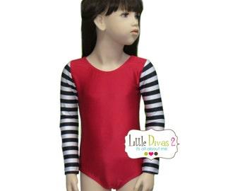 CHILD (Red/bkl/silver)Striped Long Sleeve Leotard