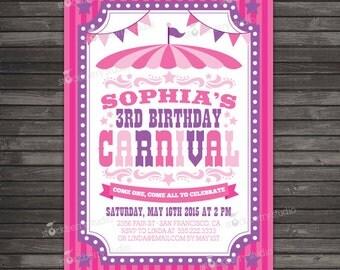 Carnival Invitation Printable - Circus Birthday Party - Girl Birthday Party - Carnival Birthday Invitation - Circus Invitation - Pink Purple