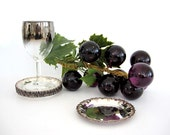Vintage Silver Wine Coaster Set Metal Grapes Made in Sweden Prima NY Metallic Decor