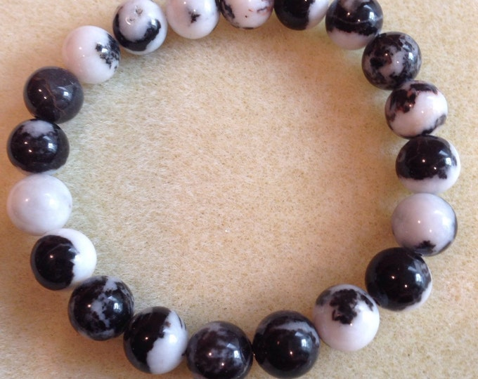 Black & White Mexican Zebra Jasper 10mm Round Bead Stretch Bracelet with Sterling Silver Accent