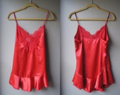 Vintage Baby Doll Lingerie Red Teddy - Short - Small