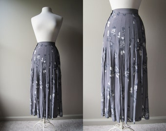 Vintage ESCADA Skirt Silk Skirt Panel Skirt  Broom Skirt Grey Skirt Gray Skirt Small Skirt Extra Small Skirt Gypsy Skirt Maxi Skirt Escada