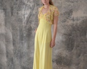 1970s Long Yellow Halter Dress size S