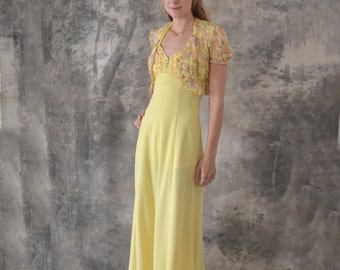 1970s Long Yellow Halter Dress size S