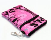 Custom fabric cell phone holder, iPhone 6 6s Plus, iPhone 7 plus, 5 5s 5c 4s 4 smartphone, wallet, case, purse, sleeve, pouch-Pink Paris