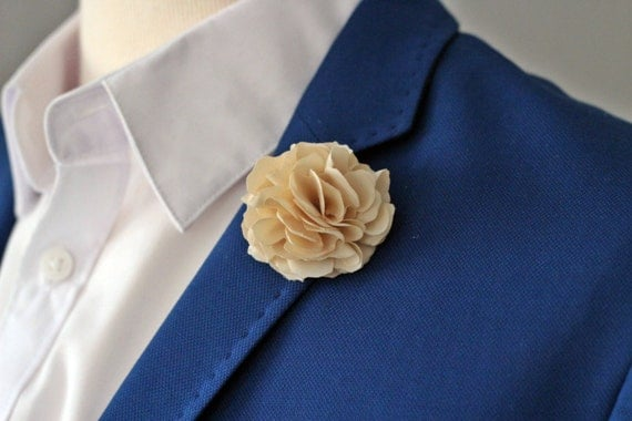 Cream Ivory flower lapel pin Mens Ivory lapel wedding