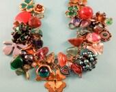 Kiss Me, I'm Irish One of a Kind Repurposed Vintage Jewelry Charm Bracelet
