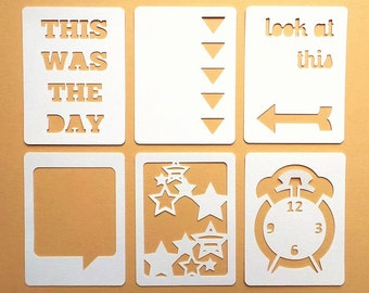 """Look At This 3x4"""" Die Cut Cards Everyday Pocket Scrapbooking, Filler Cards, Journaling Cards, Scrapbooking Embellishments, Everday Die Cuts"""