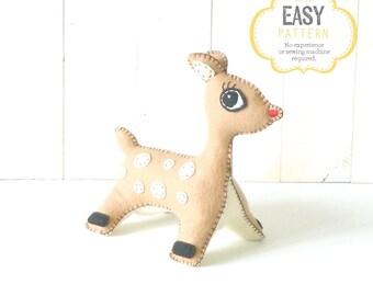 Felt Deer Pattern, Stuffed Deer Sewing Pattern, Woodland Deer Hand Sewing Pattern, Deer Softie, Plush Deer Toy, Deer Stuffie