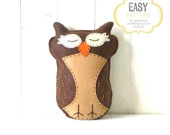 Owl Stuffed Animal Pattern, Felt Hand Sewing Owl Plushie Pattern, Owl Softie Pattern, Instant Download PDF
