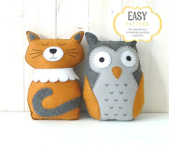 Owl & Cat Stuffed Animal Patterns, The Owl and The ...