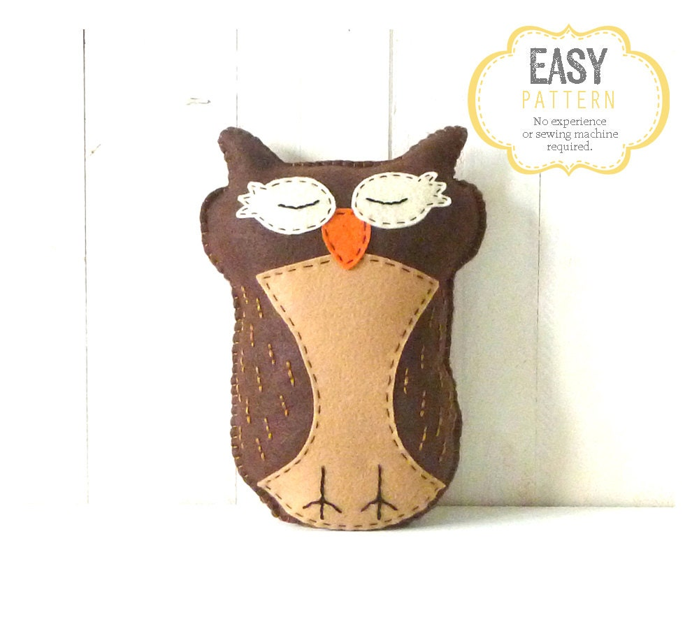 Owl Stuffed Animal Pattern Felt Hand Sewing Owl Plushie