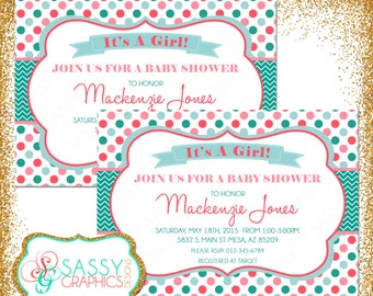 Girl Baby Shower Invite, Baby Shower invitation, digital invite, chevron shower invite, PDF invite, DIY invite, gray, teal, coral (Item #88)