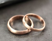 Rose Gold Wedding Band Set, Brushed Men's and Women's His and Hers 4mm and 3mm Half Round  Recycled 14k Rose Gold Wedding Ring Couple's Set