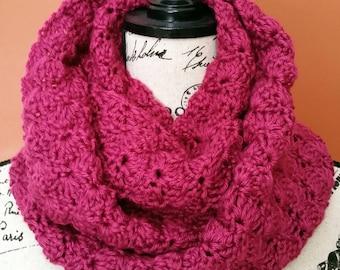 Fuchsia Shell Infinity Crocheted Cowl - Ready to Ship