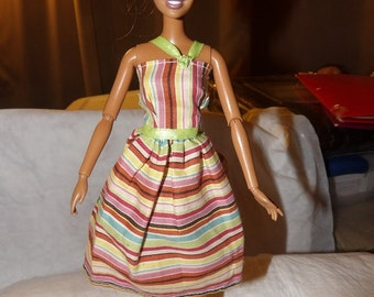 Fashionable striped sundress for your Fashion Doll - ed684