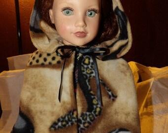 Fleece hooded cape coat in shoe, sunglass & purse print for 18 inch Dolls - ag253