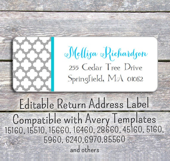 editable diy printable pdf template return address labels. Black Bedroom Furniture Sets. Home Design Ideas