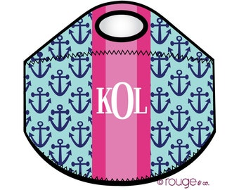 PREPPY ANCHORS monogrammed lunch tote - with customizable pattern and monogram