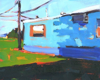 Blue Trailer Home, Oklahoma Painting