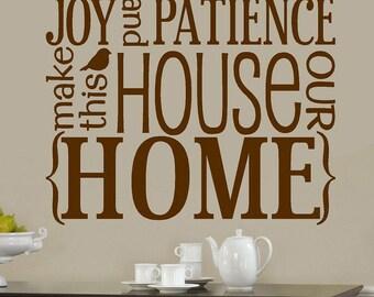 Hope Love Faith Joy Patience-Subway art -Vinyl Lettering wall words graphics Home decor itswritteninvinyl
