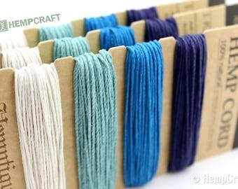 Blue Hemp Cord, 1mm High Quality Hemp Twine, Tide Pool Color Card