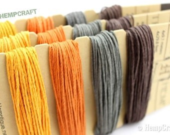 Hemp Twine, Autumn Fall Harvest Color Card, High Quality Eco-Friendly Hemp, 1mm Craft Cord