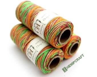 Neon Hemp Twine, Multicolor Variegated 1mm Hemp Craft Cord