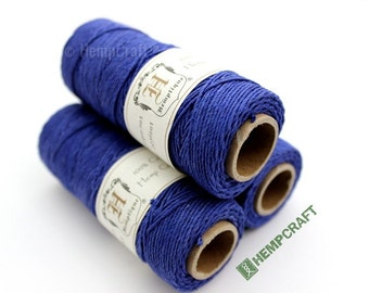 Hemp Twine, Cobalt Blue 1mm Colored Hemp Craft Cord