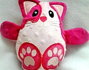Kitty cat peekaboo baby hideaway stuffed plush animal egg minky fabric plushie stuffie