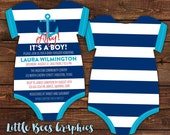 10 Anchor Baby Shower Invitations, Sailor Nautical invite -- Bodysuit Die Cut shaped -- Double sided in any color