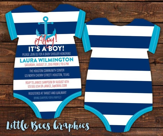 10 anchor baby shower invitations sailor nautical invite bodysuit