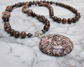 Wine, Rose and Grey Natural Stone and Crystal Base Root Chakra Balancing Necklace with Orbicular Jasper Pendant
