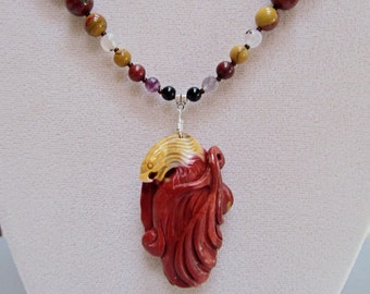 Eagle - Natural Multi-Color Stone and Crystal Chakra Balancing Necklace with Hand Carved Mookaite Jasper Pendant