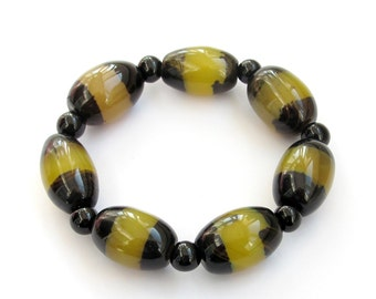 22mm x 15mm Oval Agate Beads Stretch Bracelet  T3223
