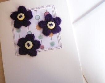 Greetings Card Purple Flower , Knitted Purple Flower Card, Birthday Card